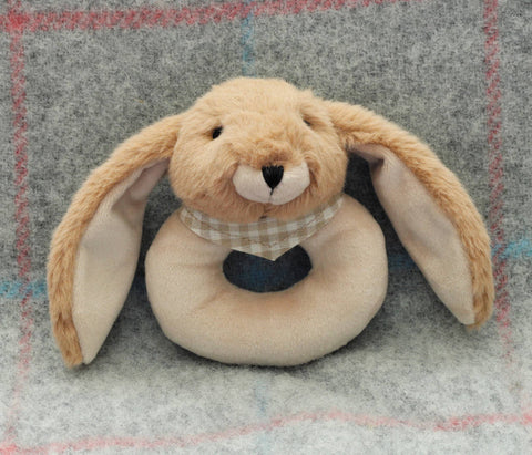 Cuddly Soft Brown Bunny Baby Rattle