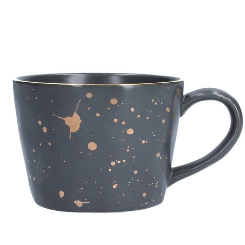 Dark Grey Gold Splash Artisan Ceramic Mug