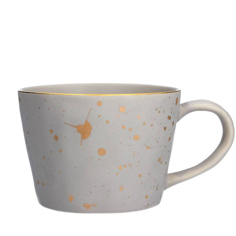 Light Grey Gold Splash Artisan Ceramic Mug
