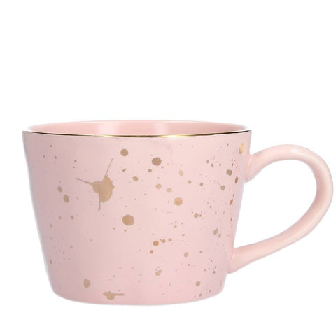 Pink Gold Splash Artisan Ceramic Mug