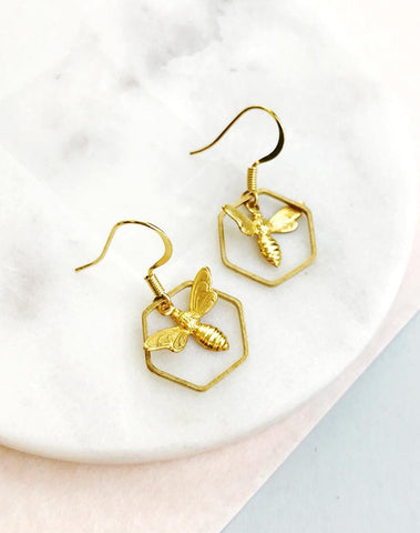 Bee & Honeycomb Hexagon Drop Earrings