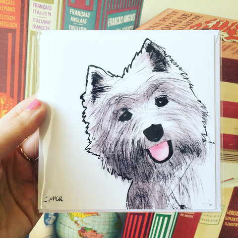 Westie Square Card Blank