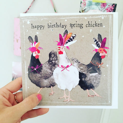 Happy Birthday Spring Chicken Birthday Card