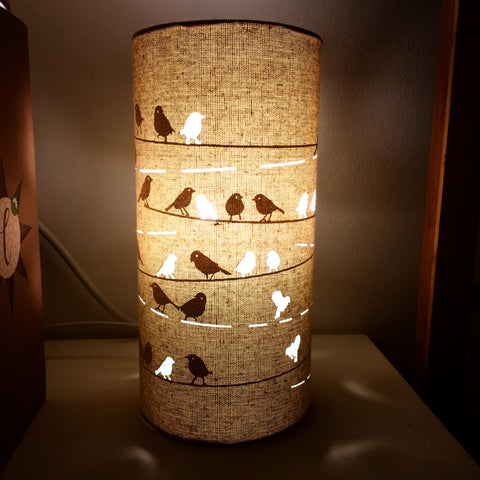 Birds on Wire Fabric Silhouette Lamp