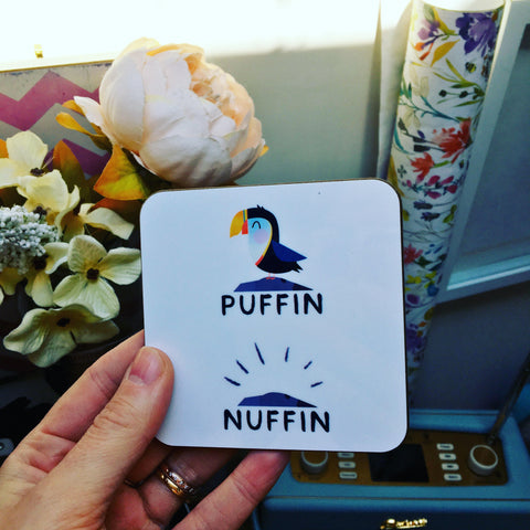 Cute Puffin Print Scottish Coaster, Puffin/Nuffin
