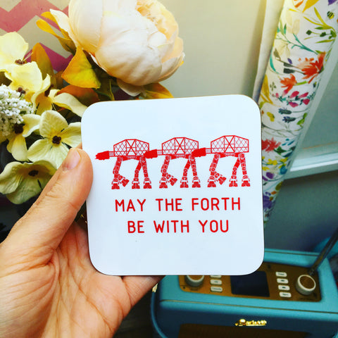 """May the Forth Be With You"" Print Scottish Forth Rail Coaster"