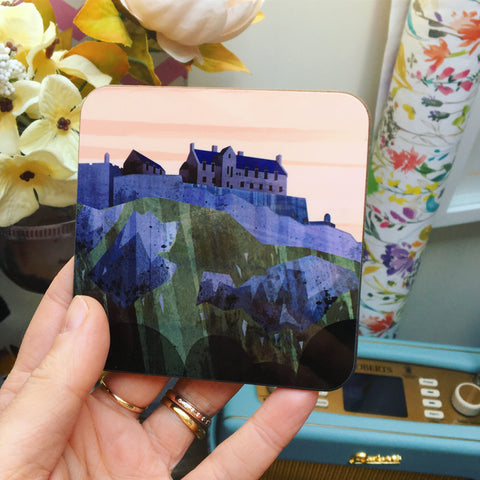 Edinburgh Castle Print Scottish Coaster