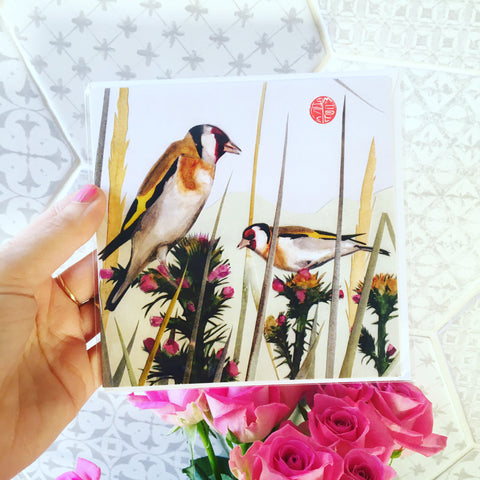 Goldfinches Square Card Blank