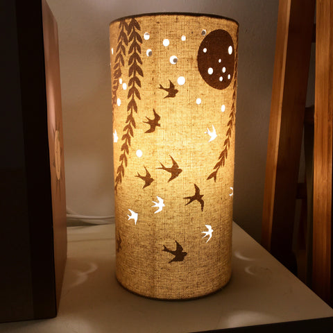 Swallows at Dawn Fabric Silhouette Lamp