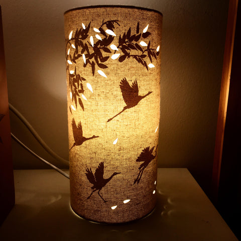 Bamboo & Cranes Fabric Silhouette Lamp