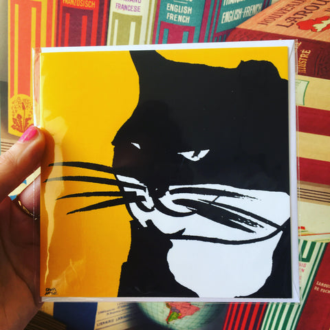 Black Cat Square Card Blank