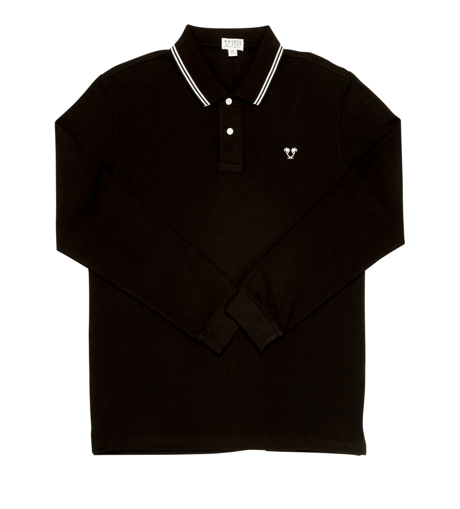 Ivan L/S Polo - Black/White