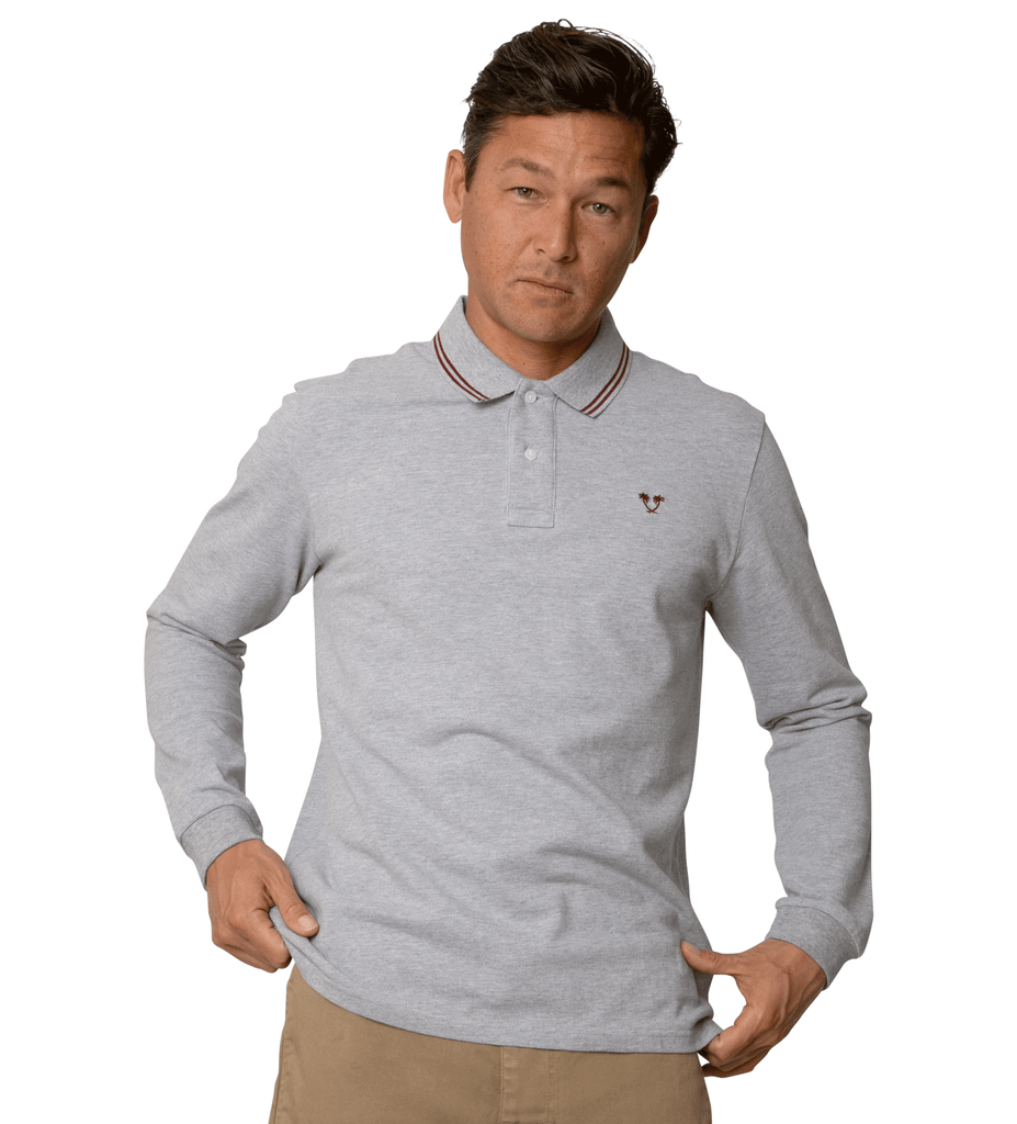 Ivan L/S Polo - Heather Grey/Maroon