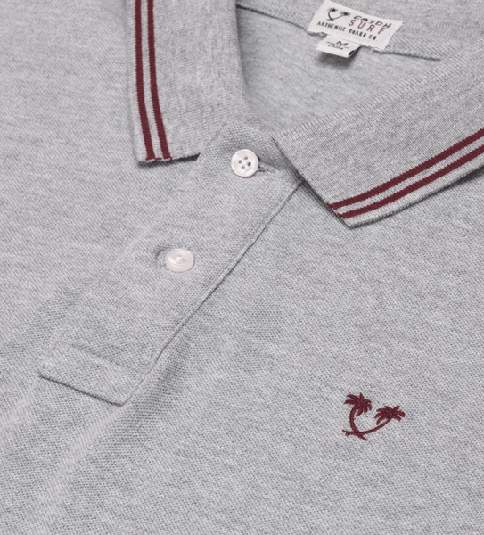 Ivan S/S Polo - Heather Grey/Maroon