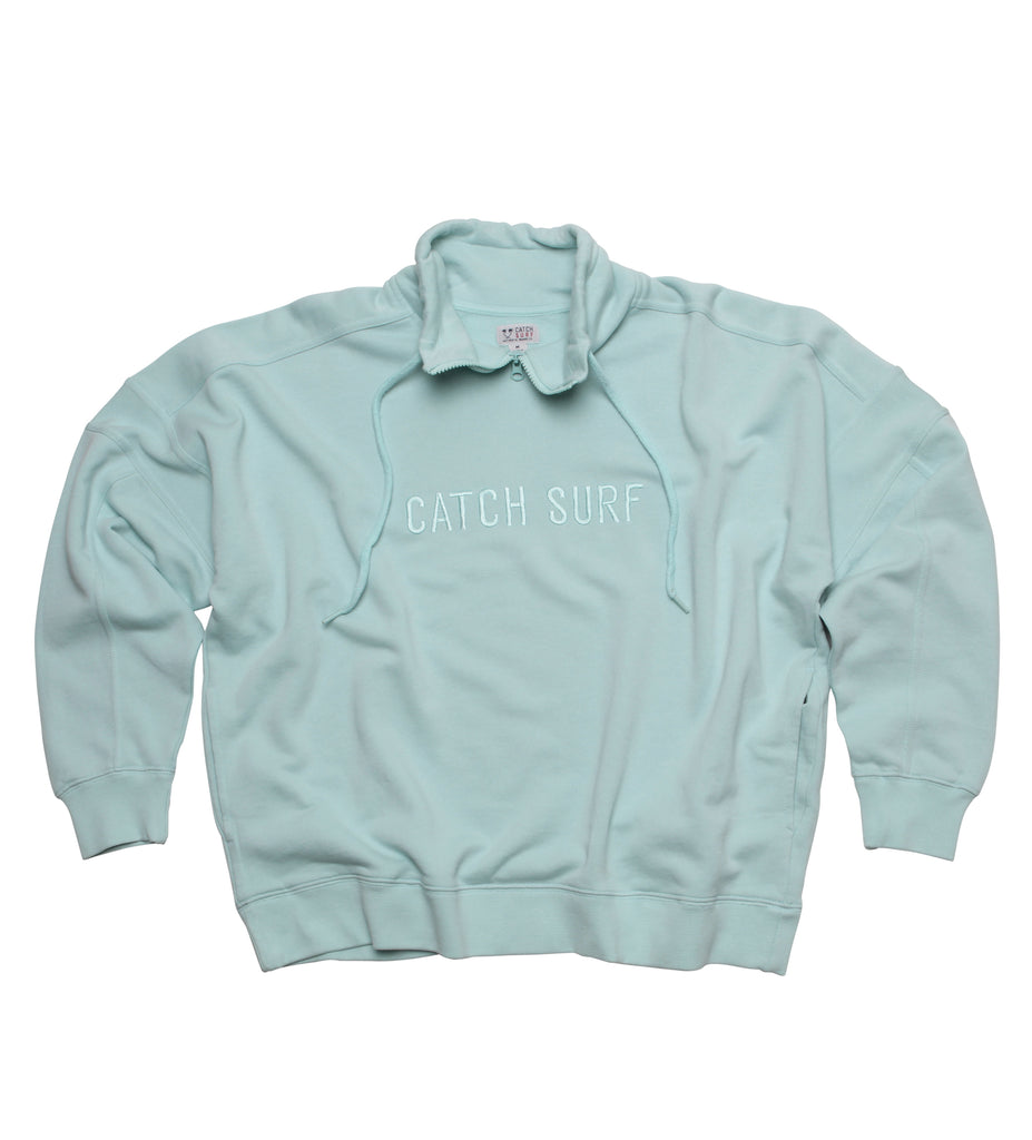 CS Signature Zip Pullover - Seafoam