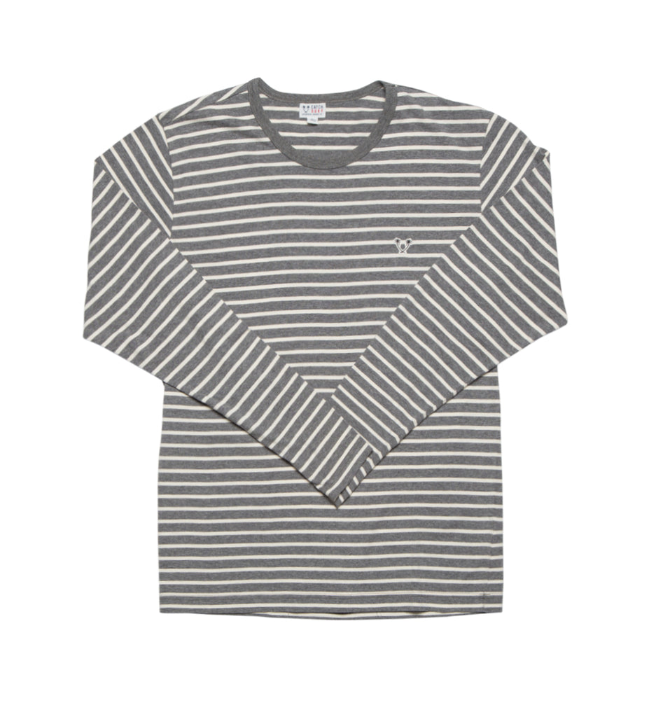 Ensign L/S Striped Knit - Grey/White Stripe