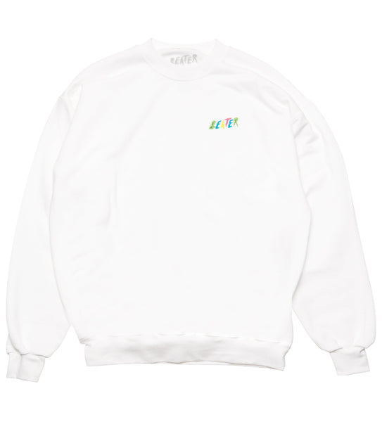 Beater Embroidered Crew Fleece // White