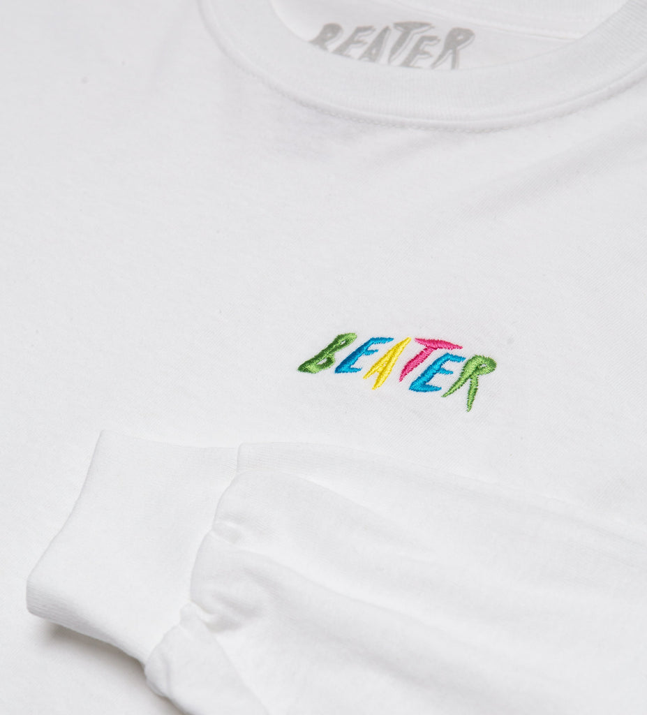 Beater L/S Embroidered Tee // White