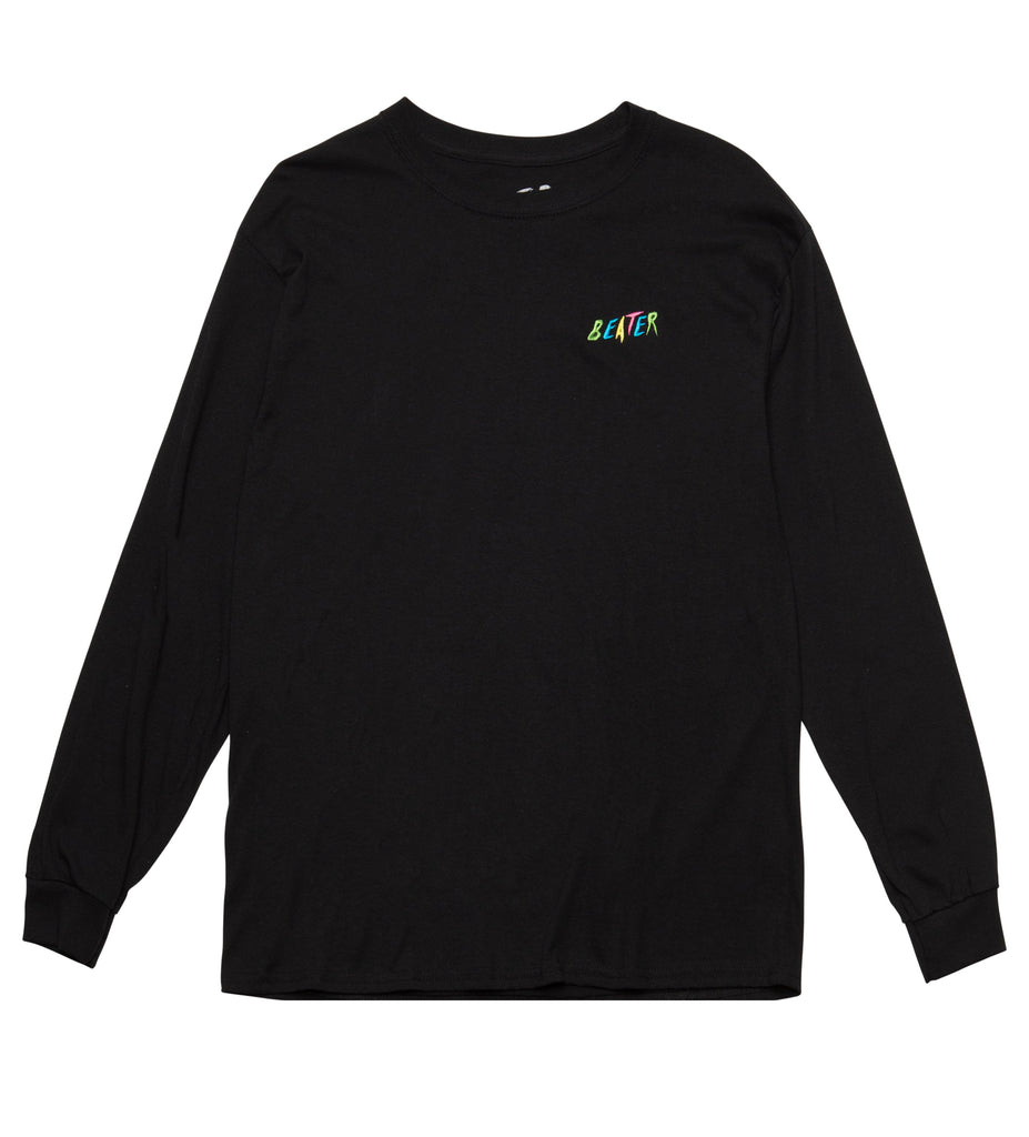 Beater L/S Embroidered Tee // Black