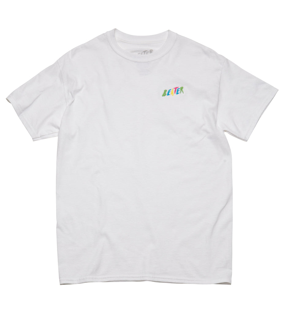 Beater S/S Embroidered Tee // White