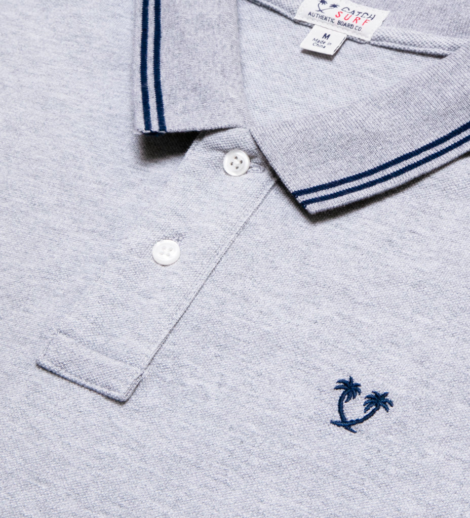 Ivan S/S Polo - Heather Grey/Navy