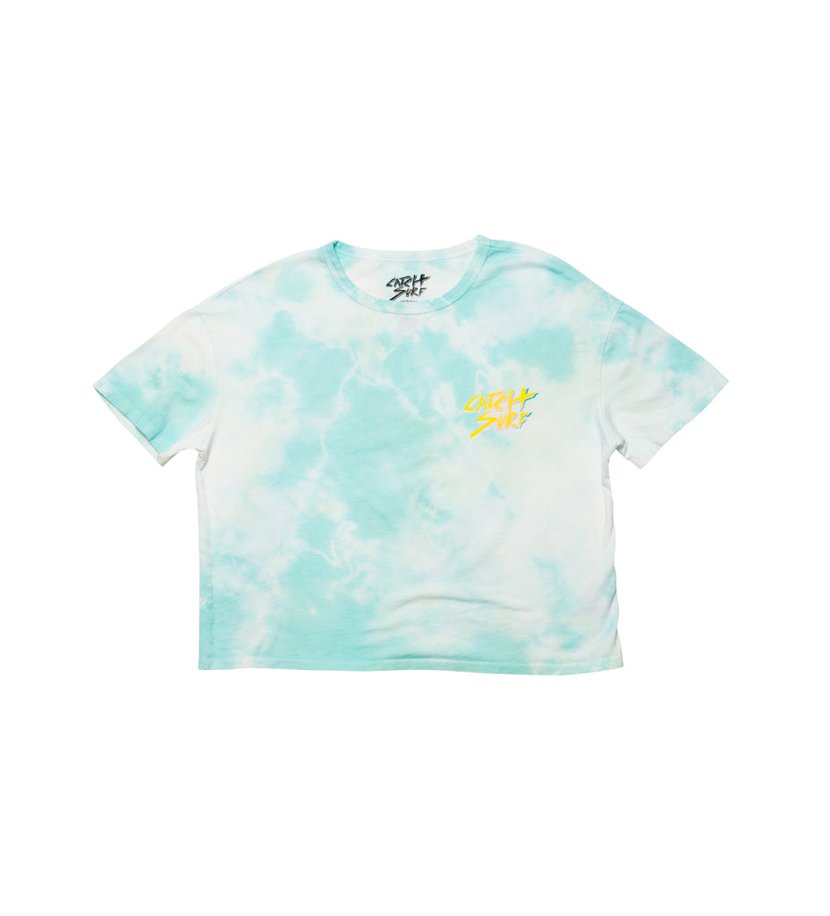 Women's // Catch Slash Crop Tee - Seafoam Tie-Dye