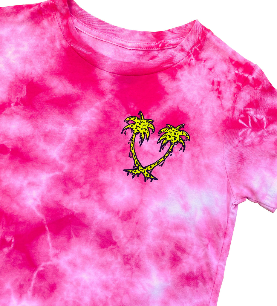 Youth // Melting Palms S/S Tee - Hot Pink Tie-Dye