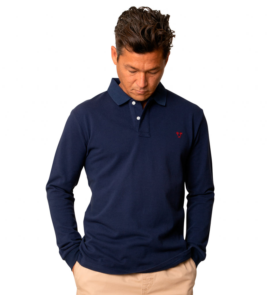 Lyon II L/S Polo - Navy/Red