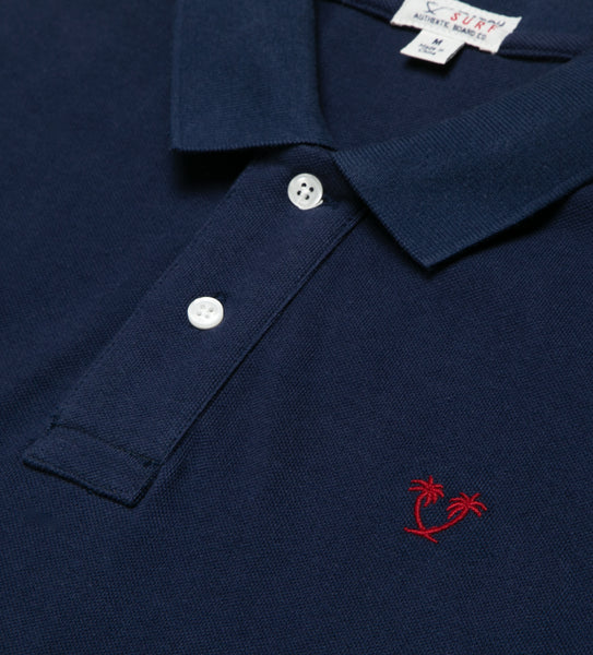 Lyon II S/S Polo - Navy/Red