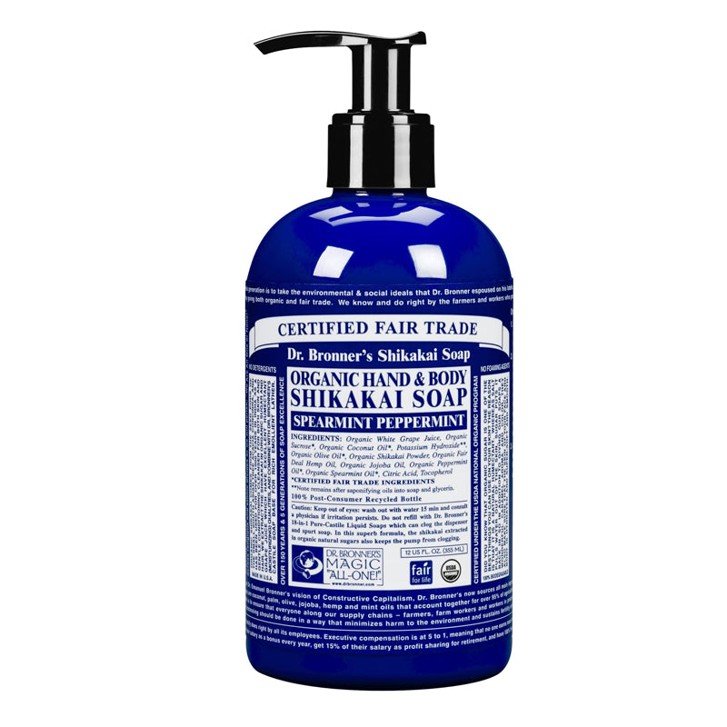 Peppermint Sugar Pump Soap Org, 12oz / 355ml