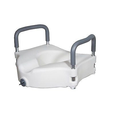 2-IN-1 Raised Locking Toilet Seat with Tool Free Removable Padded Arms