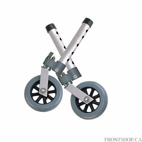 "The Drive Medical Swivel Wheel with Lock and Two Sets of Rear Glides can be locked for fixed wheels or unlocked for swivel wheels. The 5"" casters with rubber wheels and two rear glide caps, allow walkers to roll easily and smoothly over irregular surfaces."