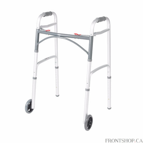 "For a safe, convenient aid to performing daily activities, a walker can be the ideal solution. Drive's new Deluxe Folding Walker combines the strength and durability with lightweight ease of use. The walker features a unique push button mechanism for easy folding. Its U-shaped frame offers greater clearance while its enhanced cross-frame design provides you with greater stability. The Folding Aluminum Walker offers 5"" wheels and newly designed rear glide caps for use on many types of terrain, while the cont"