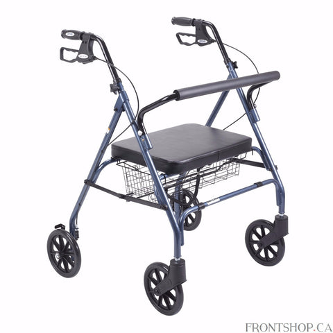 "The Go-Lite Bariatric Rollator by Drive Medical comes in an attractive blue finish. It is constructed from a strong, steel reinforced frame that supports 500 lbs. and comes standard with a large, comfortable, soft padded, oversized seat with a large basket that is mounted underneath. The basket easily and securely transports personal items. The large, 8"" caster wheels are ideal for indoor and outdoor use ensuring a smooth ride over most surfaces."