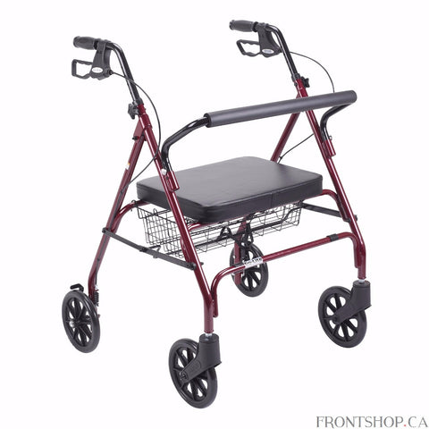 "The Go-Lite Bariatric Rollator by Drive Medical comes in an attractive red finish. It is constructed from a strong, steel reinforced frame that supports 500 lbs. and comes standard with a large, comfortable, soft padded, oversized seat with a large basket that is mounted underneath. The basket easily and securely transports personal items. The large, 8"" caster wheels are ideal for indoor and outdoor use ensuring a smooth ride over most surfaces."