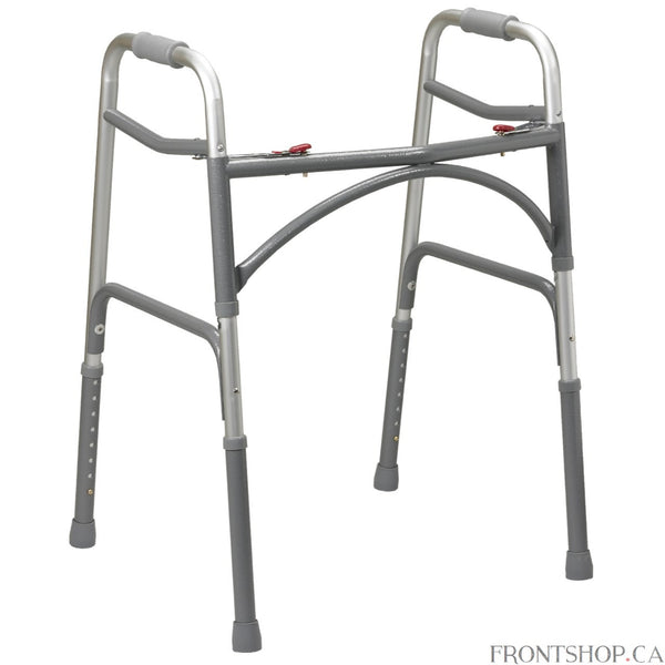 "The Bariatric Aluminum Two Button Folding Walker by Drive Medical now comes in a wider and deeper frame designed to accommodate individuals up to 500 pounds. The precision design provides additional strength while adding minimal weight to the walker. The ""U"" brace, steel legs and side brace ensure security and stability."