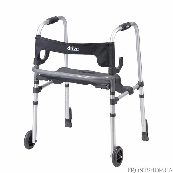 "The Clever Lite LS Walker with Seat and Push Down Brakes by Drive Medical allows individuals to be seated or to use it as a traditional walker by raising the seat to step inside the frame. This rollator easily folds with a dual lever, side paddle release, and comes with a soft, flexible backrest for comfort and stability while seated. Comes with 5"" fixed front wheels for a smooth transportation over most surfaces. The 5"" caster wheels provide a smooth transportation over most surfaces."