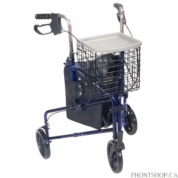 "This 3 wheel rollator in blue has a lightweight aluminum frame and comes standard with basket, tray and pouch. Easy one hand folding makes for simple storage. Easy to adjust handle height with self-threading knob. Lightweight solid 8"" wheels for indoor and outdoor use. Comes standard with special loop locks made of internal aluminum casting to ensure safety."