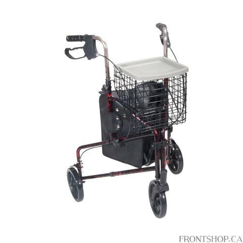 "This 3 wheel rollator in red has a lightweight aluminum frame and comes standard with basket, tray and pouch. Easy one hand folding makes for simple storage. Easy to adjust handle height with self-threading knob. Lightweight solid 8"" wheels for indoor and outdoor use. Comes standard with special loop locks made of internal aluminum casting to ensure safety."