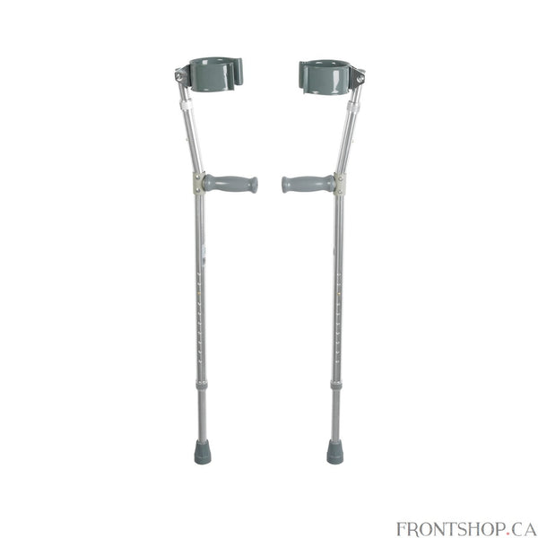 The Lightweight Walking Forearm Crutches by Drive Medical are packed with features. The vinyl coated and ergonomically contoured arm cuffs are molded for comfort and stability. Both the leg and forearm sections adjust independently without tools to ensure optimal comfort and personal sizing. The extra-large tips provide added stability to the crutches.