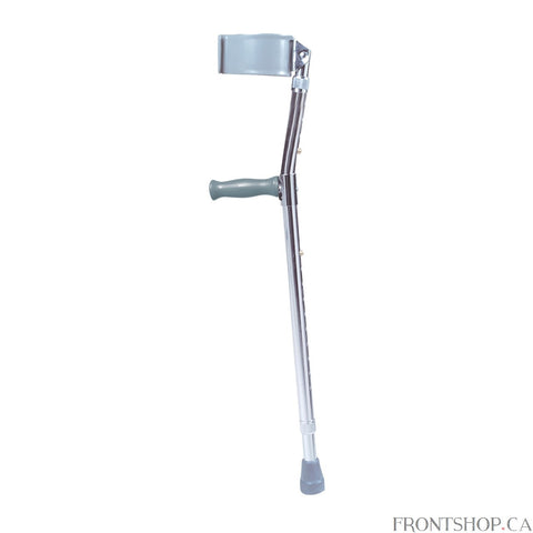 This forearm crutch by Drive Medical is packed with features. The vinyl coated and ergonomically contoured arm cuff is molded for comfort and stability. Both the leg and forearm sections adjust independently without tools to ensure optimal comfort and personal sizing. The extra-large tips provide added stability to the crutch.