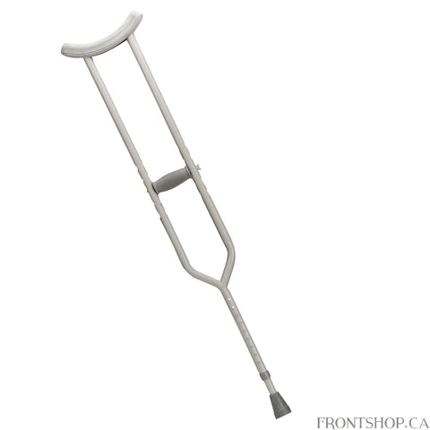 "This walking crutch by Drive Medical provides added safety and durability. Each crutch is manufactured with steel to ensure additional strength on weight-bearing areas. Extra thick (latex free) underarm pads and hand grips provide maximum comfort when in use. Tool free push-button adjustment allows the height of the underarm pad to be easily adjusted in 1"" increments. Hand grips adjust separately without tools to ensure a proper fit."