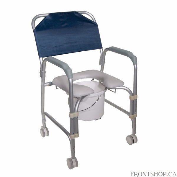 This lightweight portable shower chair commode with casters by Drive Medical is packed with features to ensure a pleasant and comfortable bathing experience. One of the greatest benefits is the ultra comfort padded seat, featuring an open front design making personal hygiene easy and convenient. When the shower chair is not in use the back and 12 quart commode bucket can be removed without tools making cleaning and storage simple. The frame is manufactured with lightweight rust resistant anodized aluminum.