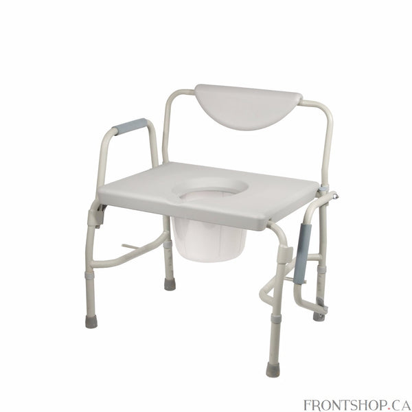 Able to withstand a weight capacity of 1000 pounds, this heavy-duty bariatric commode by Drive Medical is designed with the extra space and comfort you need. Featuring a deeper and wider seat as well as padded arms and backrest this commode is great for everyday use. The armrests provide a comfortable place to rest on when sitting and indicate a safe place to grab, making sitting and standing easier. For consumers using a wheelchair the tool free drop arms makes lateral transfer to and from this commode eas