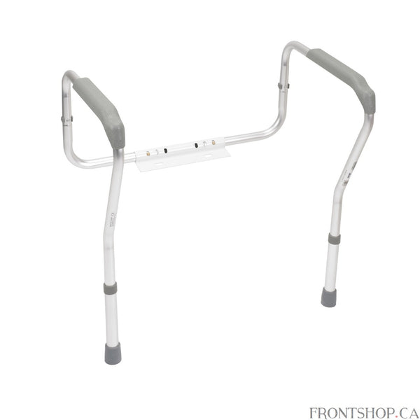 Constructed of anodized aluminum, this sturdy and lightweight toilet safety frame by Drive Medical attaches easily to the frame of your toilet. The powder-coated aluminum bracket secures the frame in place. Waterfall armrests provide additional comfort and support and are both height and width adjustable.
