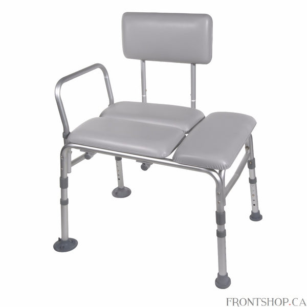 "Featuring a comfortable cushioned seat and sturdy backrest, this lightweight aluminum transfer bench by Drive Medical is both comfortable and versatile. With unique ""Dual Column"" extension legs, you can adjust the height in 1/2"" increments and the seat back adjusts without tools. The bench comes with a new ""A"" frame design composed of 1"" aluminum frame that is light, sturdy and corrosion resistant. Extra suction cups provide additional stability and tool-free assembly will make your life even easier."