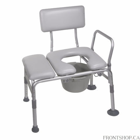 "This versatile product from Drive Medical combines a transfer bench and a commode into one. Its comfortable cushioned seat and backrest and 1"" aluminum-frame construction provide comfort and stability. The seat's back adjusts tool-free for your convenience, while extra large suction cups provide added safety. The product comes with a 7.5 quart commode bucket."