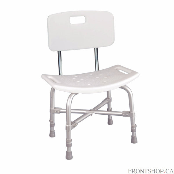 With a 500-pound weight capacity, this bariatric bath bench from Drive Medical is strong and sturdy. A cross brace attached with aircraft style rivets provides dependable strength. The blow molding on the back and seat are contoured to provide extra comfort. Drainage holes in the seat reduce slipping, while adjustable height legs ensure a proper fit. The aluminum frame is lightweight, durable and corrosion proof.