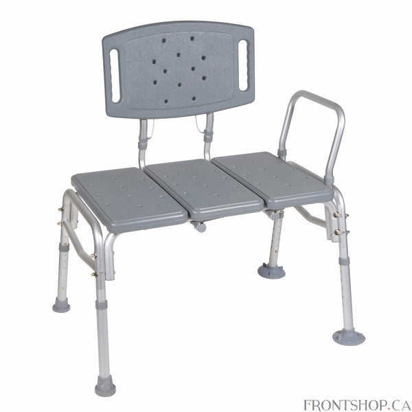"This heavy duty plastic transfer bench by Drive Medical is built extra strong, capable of withstanding a weight capacity of 500 pounds. It easily accommodates any bathroom because of its reversible bench and extension legs with extra large suction cups that lock to provide added versatility and safety. The ""Dual Column"" extension legs height adjust in 1/2"" increments. Sturdy ""A"" frame construction, durable blow-molded plastic bench and backrest ensure maximum stability. This products features tool-free asse"