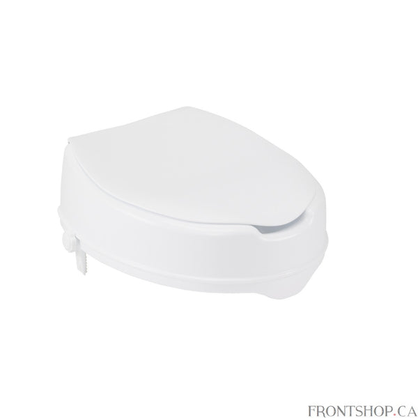 "This raised toilet seat with lid by Drive Medical is designed to increase the height of your existing standard toilet seat. Available in a 4"" elevated size providing maximum comfort and support. It easily attaches tool-free to your toilet and locks in place using two rear locks. A pair of hygiene cutouts provide convenience and allows the product to be cleaned. The elevated seat will help individuals who need a boost sitting down or standing up from the toilet. For consumers using a wheelchair this product"